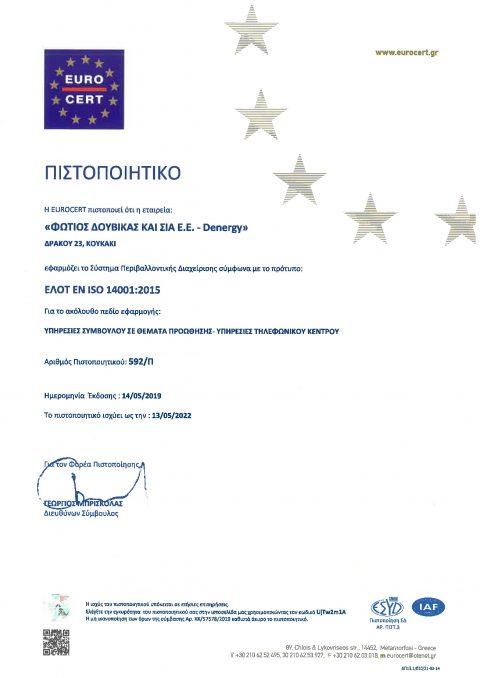 ΠΙΣΤΟΠΟΙΗΤΙΚΟ ISO 14001-2015