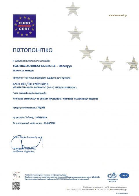 ΠΙΣΤΟΠΟΙΗΤΙΚΟ ISO 27001-2013