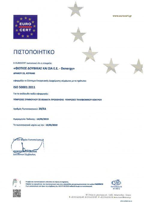 ΠΙΣΤΟΠΟΙΗΤΙΚΟ ISO 50001-2011